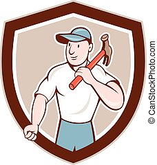 costruttore, carpentiere, presa a terra, martello, scudo, cartone animato