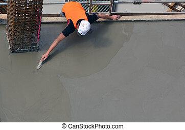 costruttore, costruzione, livellamento, cemento, manualmente