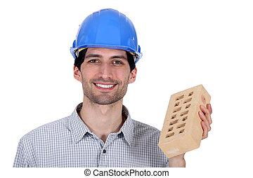 costruttore, esposizione, uno, mattone