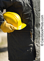 costruttore, giallo, duro-cappello