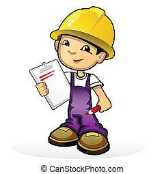 costruttore, in, giallo, casco