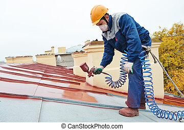 costruttore, lavoratore, roofer, pittore