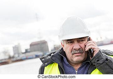 costruttore, luogo., telefono, costruzione, anziano, ingegnere