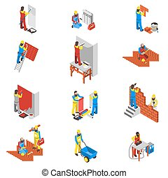 costruttore, set, icone