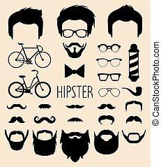 costruttore, uomini, occhiali, style., differente, su, maschio, creatore, ecc., set, icona, vettore, tagli capelli, hipster, facce, vestire, appartamento