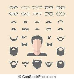 costruttore, uomini, style., differente, su, occhiali, creator., grande, barba, set, icona, vettore, baffi, facce, indossare, vestire, appartamento