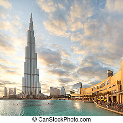 costruzione, 23, ottobre, khalifa, dubai, -, burj, centro, ...