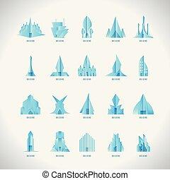 costruzione, abstract., illustration., collection., moderno, simbolo., creative., vettore, fondo, logotipo, bianco