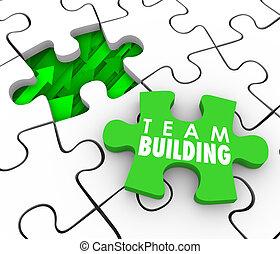 costruzione, affittare, interactio, puzzle, recluta, squadra, nuovo, pezzo, personale
