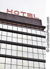 costruzione, albergo, concetto, -, segno