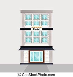 costruzione, albergo, scena, esterno