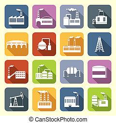 costruzione, appartamento, industriale, icone