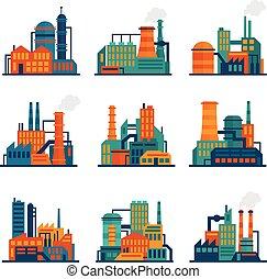 costruzione, appartamento, industriale, set, icone