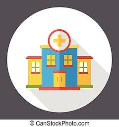 costruzione, appartamento, ospedale, icona