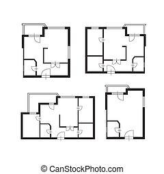 costruzione, appartamento, set, vettore, progetto architetto, disegno, mobilia