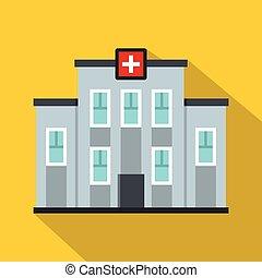 costruzione, appartamento, stile, centro, medico, icona