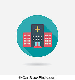 costruzione, appartamento, stile, ospedale, lungo, ombre, icona