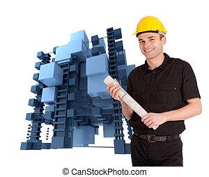 costruzione, architetto, astratto