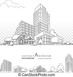 costruzione, architettura, 3d, decorativo, illustrazione, design.