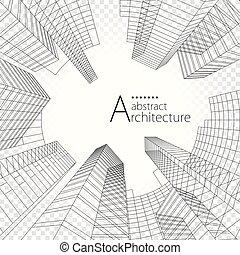 costruzione, architettura, design., moderno, urbano