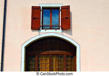 costruzione, arco finestra, francese