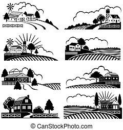 costruzione, arte, woodcut, fattoria, vendemmia, vettore, field., retro, rurale, paesaggi