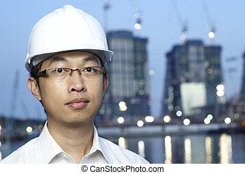 costruzione, asiatico, ingegnere