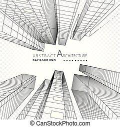 costruzione, astratto, linee, prospettiva