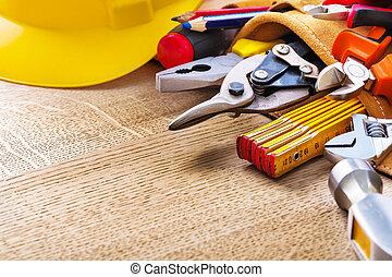 costruzione, attrezzi, in, cintura attrezzo, e, su, asse legno