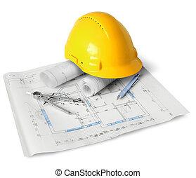 costruzione, attrezzi, piano