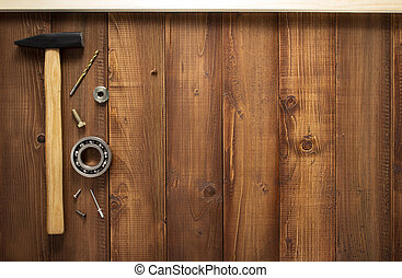 costruzione, attrezzi, su, legno, fondo