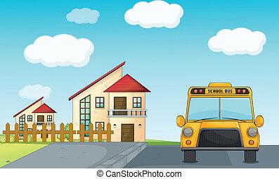 costruzione, autobus, scuola