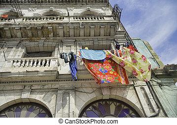 costruzione, avana, vecchio, balconi, colorito