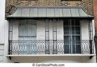 costruzione, balcone, vecchio, britannico, vista