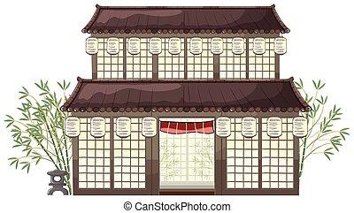 costruzione, bambù, lanterne, orientale