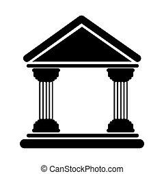 costruzione, banca, icona