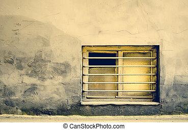costruzione, barre, vecchio, finestra, Sporco,  grungy
