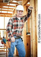 costruzione, bello, lavoratore