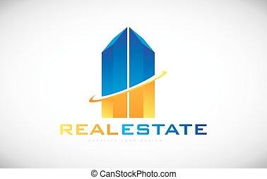 costruzione, beni immobili, disegno, grattacielo, logotipo, icona