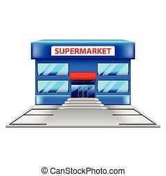 costruzione, bianco, vettore, isolato, supermercato