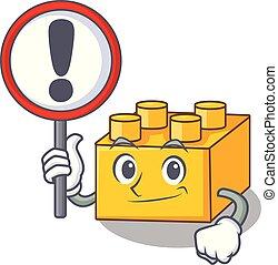 costruzione, blocchi giocattolo, segno, pltastic, cartone animato