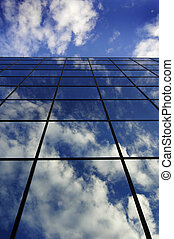 costruzione, blu, nubi, riflessione, affari, cielo, vetro