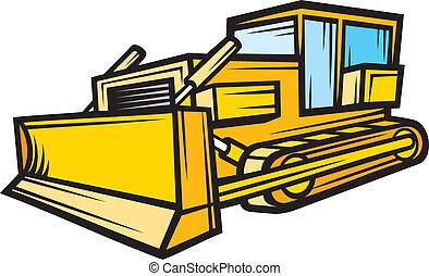 costruzione, bruco, bulldozer