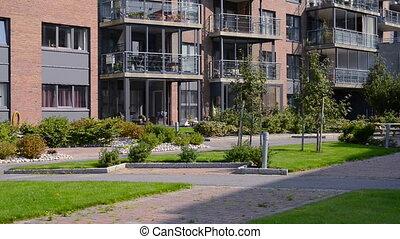 costruzione, camminando verso, appartment, residenziale,...
