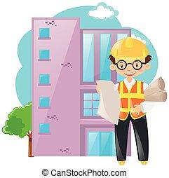 costruzione, caposquadra, lavorativo