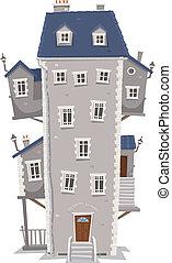 costruzione, casa, alto, grande