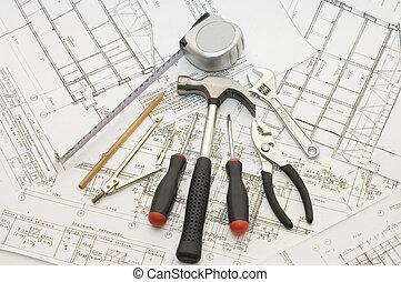 costruzione, casa, attrezzi, progetto