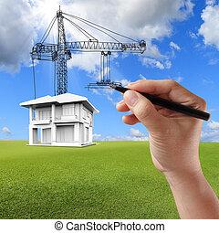 costruzione, casa, gru