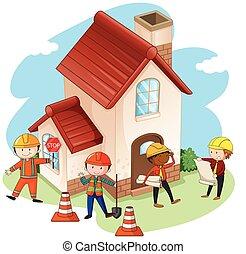 costruzione, casa, lavorante, costruzione