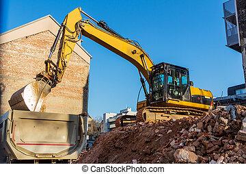 costruzione casa, luogo demolizione, durante
